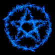 Blue flame pentagram isolated on black — Stock Photo