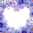 Blue heart shape floral frame isolated on white — ストック写真