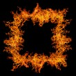 Square orange flame isolated on black — Stock Photo