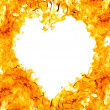 Heart shape flame on white — Stock Photo