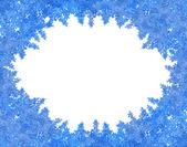 Blue snowflakes frame isolated on white — Stock Photo