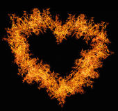 Orange fire heart on black — Stock Photo