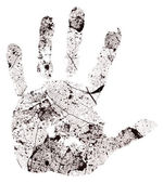 Hand imprint on dead leaf background — Foto de Stock