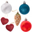 Set of new-year tree decorations isolated on white — Stock Photo