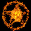Skull in orange flame pentagram — Stock Photo
