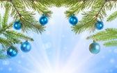 Hristmas strom poloviční rámeček na modrém pozadí — Stock fotografie