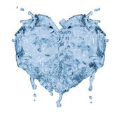 Heart shape symbol from blue water — Stock Photo