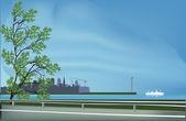 árbol junto a la carretera libre bajo el cielo azul — Vector de stock