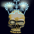 Dark skull in bright crown — Stock Vector