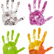 Set of conceptual hand imprints on four seasons backgrounds — Stock Photo #36747575
