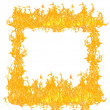 Yellow and orange flames frame on white — Stock Photo
