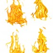 Four isolated yellow and orange flames set — Stock Photo