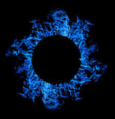 Circle of blue flame isolated on black — Stock Photo