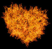 Yellow fire heart on black — Foto Stock