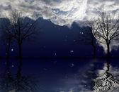 árvores nuas sob céu escuro com reflexo — Foto Stock
