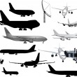 Grey and black airplanes collection isolated on white — Stock Vector #36749381