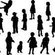 Sixteen isolated child silhouettes — Stock Vector
