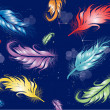 Color feathers on dark blue background — Stock vektor