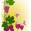 Red wine and grapes on yellow background — Stock Vector