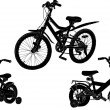 Set of three bicycle silhouettes isolated on white — Stock Vector