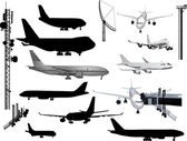 Grey and black airplanes collection isolated on white — Stock Vector