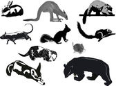 Ten animal sketches on white background — Stock Vector