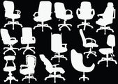 Office chairs collection isolated on black — Stock Vector