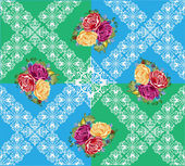 Rose flowers on green and blue decorated background — Vettoriale Stock