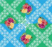 Rosas flores sobre fundo decorado verde e azul — Vetorial Stock