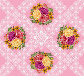 Rose flowers bouquet on pink decorated background — Vettoriale Stock