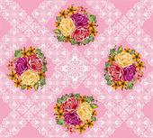 Buquê de flores rosa em fundo rosa decorado — Vetorial Stock