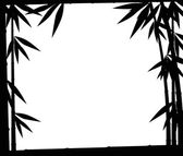 Quadro de bambu preto ramos isolado no branco — Vetorial Stock