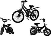Set of three bicycle silhouettes isolated on white — Vettoriale Stock
