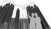Workers and house building with perspective distortion — Stock Vector