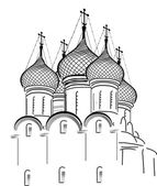 Isolated on white orthodox church sketch — Stok Vektör