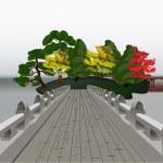 Bridge to pavilion in pond illustration — Stock Vector #36750999