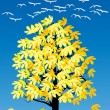 Flying swans above fall tree — Stock Vector #36752371