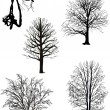 Bare trees silhouette collection isolated on white — Image vectorielle