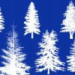 White winter trees silhouettes isolated on blue — 图库矢量图片