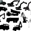 Heavy industrial machinery and cranes silhouettes — Stock Vector