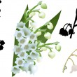 Lily-of-the-valley flowers set isolated on white — Stock Vector