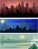 Three city panorama illustration — Stock Vector