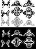Black and white curled ornament elements collection — Stockvektor