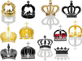 Twelve crowns isolated on white background — Stock Vector