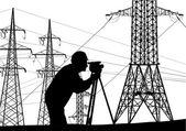 инженер вблизи высоковольтных электропередач — Cтоковый вектор