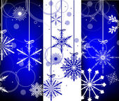 White and blue christmas snowflakes vertical bands — Stok Vektör