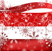 Four red horizontal christmas snowflakes bands — Vector de stock