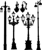 Decorated six street lamps on white — Vector de stock