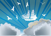 Birds and ship flying above clouds — Stock Vector