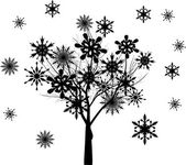 Tree from black snowflakes isolated on white — Stock Vector